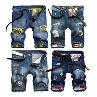 Wholesale Cool Trousers For Men - 28-38 Super COOL Fashion Mens Knee Length Jeans Male Human skeleton Skull Retro Tide Ripped Pants Elastic Hole Trousers Shorts for Men Free