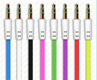 Wholesale V Audio - 100PCS 1m 3FT Colorful Flat Noodle 3.5mm Male AUX Cable Earphone Audio Cord for iPhone iPod Samsung Sony