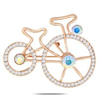 Wholesale China Wholesale Bikes - BR666 Bike Brooch Pins Gold And Silver Plated Jewelry Korean Rhinestone Brooch