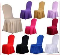банкетные чехлы оптовых-Стул юбка крышка свадебный банкет стул протектор чехол декор плиссированные юбки стиль стул охватывает эластичный спандекс высокое качество HT056