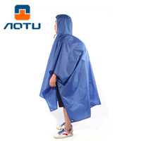 Wholesale Sports Poncho - AOTU Outdoor Sports Hiking Camping Multi-function Raincoat Poncho Backpack Hood Ground Pad Mat Sunshade 082