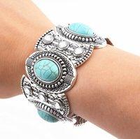 legierung silber türkis großhandel-Bohemian Jewelry Unisex Kristall Türkis Beads Charms für Armbänder Versilbert Legierung Bangles Bohemian Armbänder Schmuck Geschenke