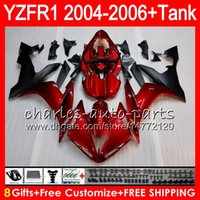 Wholesale Yamaha R1 Body - 8Gift 23Color Body For YAMAHA YZF1000 YZFR1 04 05 06 YZF-R1000 58HM2 TOP Pearl red YZF R 1 YZF 1000 YZF-R1 YZF R1 2004 2005 2006 Fairing kit