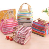 Wholesale Portable Canvas Stripe Cool Lunch Totes Bag Thermal Insulated Carry Case Picnic Lunch Bag Box Zipper Cooler Bag ml