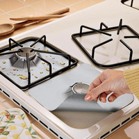 Wholesale File Aluminum - Wholesale- 4PCS Sliver Reusable Aluminum Foil Gas Stove Burner Cover Protector Liner Clean Mat Pad File Injuries Protection 3colors