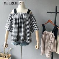 Wholesale Patchwork Half Sleeve Chiffon Top - Summer Tops Pink Black Plaid Shirt Loose Wide Strap Patchwork Half Sleeve Pleated Slash Neck Womens Tops And Blouses