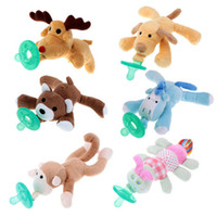 Wholesale Toy Pacifiers - 2017 Newborn Silicone Babies Pacifiers Nibbler Animal Plush Nipple Soother Toys Boy Clips Chain Wubbanub Girl Toy Baby Pacifier Clip
