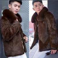 Wholesale Thick Thermals Long Sleeves Men - Black brown warm casual faux mink rabbit fur coat mens leather jacket men coats villus winter loose thermal outerwear zipper