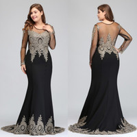 Wholesale Gold Evening Dresses Homecoming - 2017 New Sexy Back Cheap In Stock Designer Plus Size Evening Dresses Sheer Long Sleeves Gold Lace Appliques Mermaid Prom Party Gowns CPS404