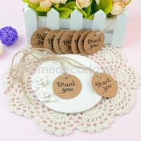 Wholesale Favor Tags - Wholesale- 100pcs Thank you Round Wooden Tag Wedding Embellishment Craft Ornament Decor