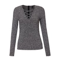 Wholesale Computer Cut - Wholesale-Women sexy v neck knitted sweater bandage Plus size pullover lace up Elastic low cut cross bodycon long sleeve casual tops SW867
