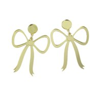 Wholesale Earrings Bowknot - Statement Earrings Gold-Color Bowknot Shape Party Long Earrings for Women Accessories Fashion Jewelry