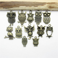 Wholesale 14k Gold Owl Pendant - Wholesale-Mix 48PCS (18*10-22*18mm ) Antique Bronze Owl charm pendants fit European bracelet made Pendants for jewelry making