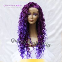 Wholesale Heat Resistant Synthetic Lace Wigs - Queen Style Hair Curly Long Purple Root Light Purple Ombre Wig 3700 3700L Half Hand Tied Heat Resistant Synthetic Lace Front Wig