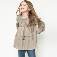 Wholesale Children S Clothing For Girls - Fashion Girls Lace Tassel Blouse Autumn Tops Back Hollow Flare Sleeve Kids Blouse Elegant Children Clothes For 7-14y Free Shipping