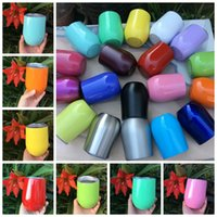 Wholesale Wholesale Egg Holders - 19 Colors Creative 9oz Egg Cup Double Layer Mug Stainless Steel Stemless Wine Glass Cocktail Glasses Drinking Holder With Lid CCA6548 15pcs