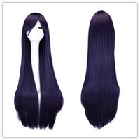 Wholesale Sailor Moon Wigs - 100 Cm Sailor Moon Sailor Mars Cosplay Wig Long Straight Synthetic Hair Black Purple Wigs Costume Party Peruca Peluca