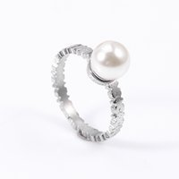Wholesale Pearl Ring White Gold - TL Pearl and stainless steel fashion ring for women new edition two colours for sizes 2017