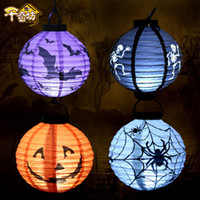 Wholesale Paper Lanterns Bulbs - 2018 Halloween Pumpkin LED Lights Lamp Paper Lantern Spiders Bats Skull Pattern Decoration Supplies Bulbs Ballons Lamps For Halloween CPA928