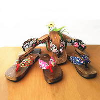 Wholesale Cotton Fabric Geta - Wholesale-Trendy Hot Lady Bidentate Flip Flops Flower Sandals Slipper Shoes Japanese Geta Clogs Women Summer Wooden Slippers#SJL323