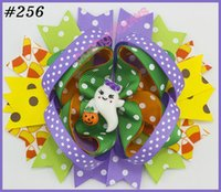 Wholesale Orange Halloween Hair - free shipping 120pcs NEWEST Halloween hair bows korker bows, boutique hair bows, layered corker bows