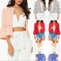 Wholesale Cropped Blazer Jacket - NEW Women Ruffle Frill Long Sleeve Open Front Coat Blazer Peplum Crop Jacket Short Blouse 5 Colors