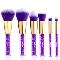 Wholesale rhinestone eyebrows for sale - Group buy 6 Pieces Face Cosmetic Brush Kit Rhinestone Acrylic Handle of Makeup Brushes for Powder Foundation Eyebrow Blush Concealer Tools