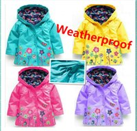 Wholesale Boy Raincoats - Free shipping Children windproof and rainproof Jackets Keep warm Outwear coat Girls and boy lovely flowers raincoat JC34