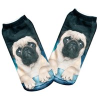 Wholesale Cool 3d Socks - Wholesale-HOT 1 pairs Women Men Unisex Fashion Cool Vivid 3D Printed Patterns Cotton pug galaxy Anklet Socks Hosiery Free Shipping