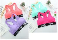 Wholesale Crop Top Vests - Pink Letter Sport Bras Running Yoga Shirts VS Pink Gym Bras Push Up Fitness Vest Elastic Fashion Crop Tops Adjustable Sexy Underwear