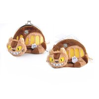Wholesale Bus Bags - 2 Style 12*9CM My Neighbor TOTORO   Totoro Bus Plush Coin Bag Keychain Stuffed Animals Doll Toy For Child Gifts akye-031