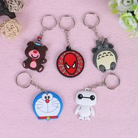 Wholesale Souvenir Items Wholesale - Exquisite PVC Soft Rubber Models Cartoon Keychain Minions Skull Hello Kitty Key Ring Holder Key Chains Finder Souvenirs Gifts Item