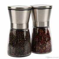 Wholesale Adjustable Pepper Grinder - Brushed Stainless Salt and Pepper Grinder Set, Slim Brushed Stainless Steel Pepper Mill and Salt Mill -Adjustable Ceramic Rotor (Set of 2)