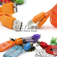 Wholesale Galaxy S4 Noodle Cable - For S4 S5 Note3 Micro USB Cable Colorful Braided Noodle Flat USB Wire 1M 3ft Nylon Woven For Galaxy S4 Note 2 Huawei Lenovo HTC Blackberry