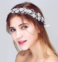 Wholesale Elegant Hair Flowers - Silver Jasmine Elegant Crystal and Rhinestones Pearls Yarn Flower Wedding Hair Vine Headband Bridal Hair accessories
