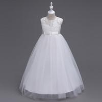 Wholesale Wholesale Quality Wedding Gowns - Children princess lace dress 2017 new big girls top grade high quality long dress lace tutu wedding Vest Bow belt dress for big kids A080