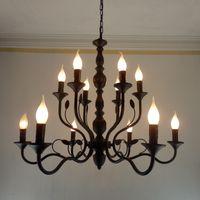 luminárias vintage para casa venda por atacado-Luxo Rústico Lustre de Ferro Forjado E14 Castiçal luz pendurada Preto Vintage Antique Home Lustres Para sala de estar lâmpada luminárias