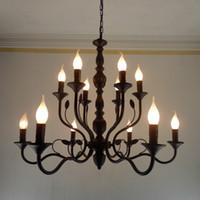rustikale lampen großhandel-Luxus Rustikale Schmiedeeisen Kronleuchter E14 kerzenhalter hängeleuchte Schwarz Vintage Antiken Hause Kronleuchter Für wohnzimmer leuchte