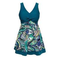 Wholesale women conservative swimwear for sale - 2017 Women Conservative One Piece Swimsuit High Waist Padded Printing Swimwear High Waist Bathing Suit