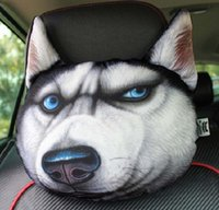 Wholesale Headrest Pillow Head Neck Rest Headrest Pillow Seat Back Lovely Dog Cat Animal Huskies Gift Present D Sofa Cushion