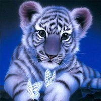Wholesale Tiger Paintings Canvas - 5D needlework Diy diamond painting cross stitch kits full resin square diamond embroidery Mosaic Home Decor animal cute tiger zf0280