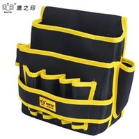 Wholesale Tools For Electricians - Wholesale-BESTIR 8-pocket Tool Bag Electrician Oxford Fabric Pouch Waterproof Case Hanging Type Saddlebag for Tool Belt 05146