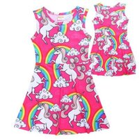 Wholesale Rainbow Dress For Baby Girl - Children Unicorn Dress for Baby Girls Summer Rainbow Unicorn Pattern Sleeveless Girls Vest Dresses Big Kids Clothes Girls Boutique Clothing