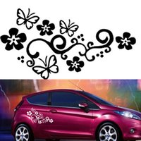 Wholesale Personalized Butterfly Stickers - 2Pcs Waterproof Universal Flower and Butterfly Car Sticker PVC for Auto Truck CEA_30U
