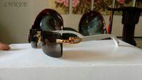 espejo de bambú enmarcado al por mayor-gafas de sol de madera de bambú nuevo espejo de la manera cuerno de búfalo gafas sin montura para mujer marca gafas de sol marco negro marrón claro lentes con caja