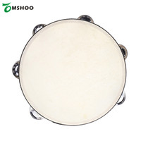 """Wholesale Musical Instruments Game - Wholesale- 8"""" Double Row Tambourine Drum Bell Birch Metal Jingles Bell Percussion Musical Educational Instrument for KTV Party Kids Games"""