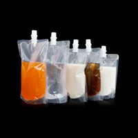 Wholesale 200ml ml ml ml ml clear transparent plastic stand up doy pack with spout breast milk liquid packaging storage pouch bags