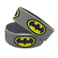 "Wholesale gifts for gamers - 50PCS Lot Batman Silicon Wristband 1"" Wide Band Grey Colour, Perfect To Use In Any Benefits Gift For Gamers"