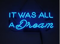 """Wholesale dreams real - Fashion New Handcraft Neon sign """"IT WAS ALL A DREAM"""" Real Glass Tubes For Bedroom Home Display neon Lighht sign 14x7"""