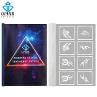 Wholesale temporary body art kits - Wholesale-OPHIR 281PCS Pattern Airbrush Stencils Set A4 Booklet for Temporary Tattoo Airbrush Kit Body Art Tattoo Accesory _TA109
